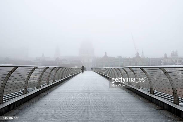 Millennium Footbridge on a foggy day in London