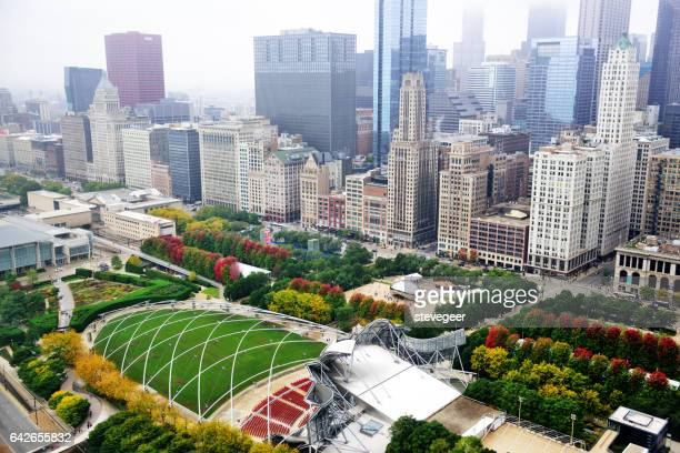 Millennium Park and Michigan Avenue from above, Chicago