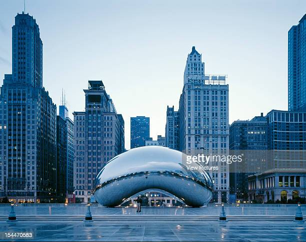 Millennium Park Chicago United States Architect Frank Gehry Millennium Park Dusk View At Sbc Plaza With Cloud Sculpture By Anish Kapoor