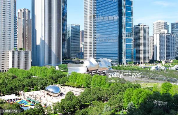 millennium park from above - cloud gate stock photos and pictures
