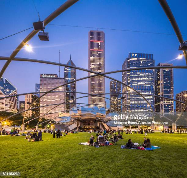millennium park, jay pritzker pavilion - chicago illinois stock pictures, royalty-free photos & images