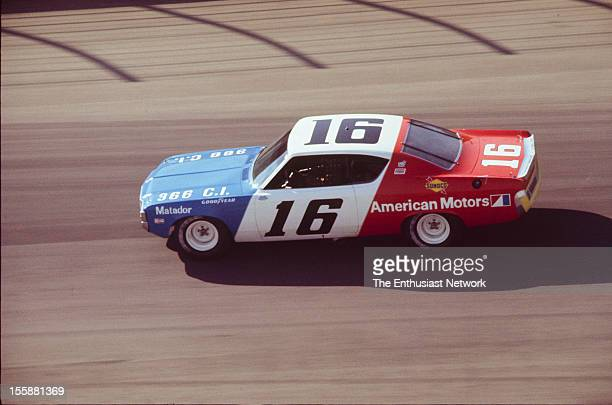 Miller 500 NASCAR Ontario Motor Speedway Mark Donohue of Penske racing drives his AMC Matador Donohue would start the race seventh on the grid but...