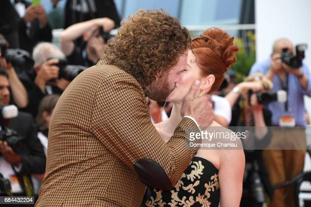 J Miller and Kate Gorney kiss as they attend the 'Wonderstruck' screening during the 70th annual Cannes Film Festival at Palais des Festivals on May...