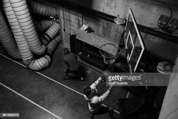 T Miller and Louis Domingue of the Tampa Bay Lightning gets ready for the game against the Washington Capitals during Game Seven of the Eastern...