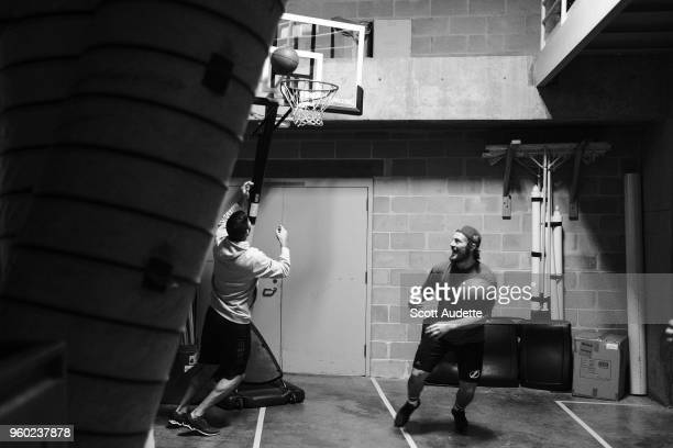 T Miller and Louis Domingue of the Tampa Bay Lightning play basketball before the game against the Washington Capitals during Game Five of the...