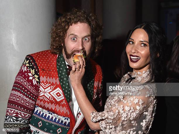 "Miller and Olivia Munn attend the Paramount Pictures with The Cinema Society & Svedka Host An After Party For ""Office Christmas Party"" at Mr. Purple..."