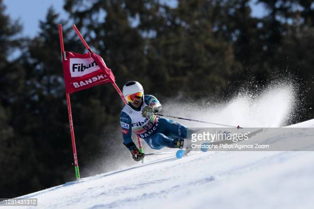 Miller Andrew of USA in action during the Audi FIS Alpine Ski World Cup Men's Giant Slalom on February 28, 2021 in Bansko Bulgaria.