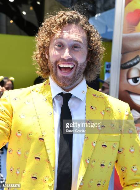 T J Miller arrives at the Premiere Of Columbia Pictures And Sony Pictures Animation's 'The Emoji Movie' at Regency Village Theatre on July 23 2017 in...