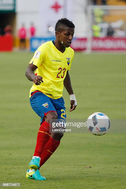 Miller Bolanos of Ecuador drives the ball during a match between Ecuador and Brazil as part of FIFA 2018 World Cup Qualifiers at Olimpico Atahualpa...