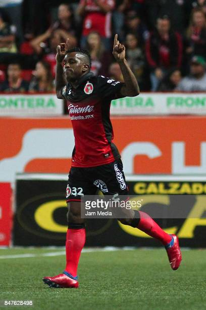 Miller Bolanos of Tijuana after scoring the tying goal during the 9th round match between Tijuana and America as part of the Torneo Apertura 2017...
