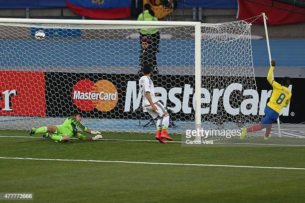 Miller Bolaños of Ecuador celebrates after scoring the opening goal during the 2015 Copa America Chile Group A match between Mexico and Ecuador at El...