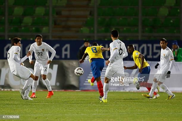 Miller Bolaños of Ecuador shoots to score during the 2015 Copa America Chile Group A match between Ecuador and Bolivia at Elias Figueroa Bander...