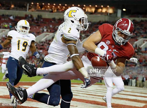 Miller Forristall of the Alabama Crimson Tide fails to pull in this touchdown reception against Cedric Nettles of the Chattanooga Mocs at BryantDenny...