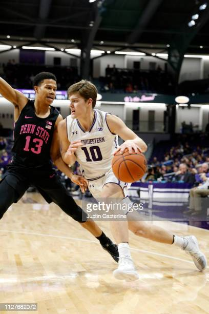 Miller Kopp of the Northwestern Wildcats drives to the basket in the game against the Penn State Nittany Lions during the second half at WelshRyan...