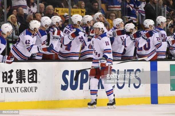 T Miller of the New York Rangers celebrates his second period goal against the Boston Bruins at the TD Garden on December 16 2017 in Boston...