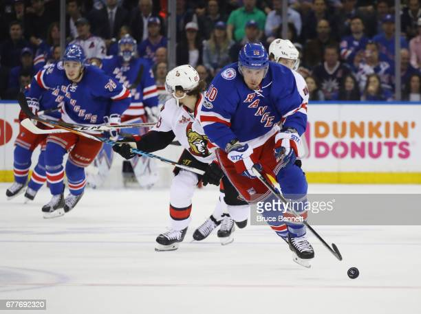 T Miller of the New York Rangers skates against the Ottawa Senators in Game Three of the Eastern Conference Second Round during the 2017 NHL Stanley...