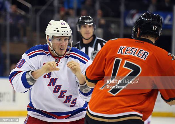 T Miller of the New York Rangers squares off with Ryan Kesler of the Anaheim Ducks at Madison Square Garden on December 22 2015 in New York City The...