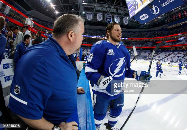 T Miller of the Tampa Bay Lightning during the pregame warm ups against the Buffalo Sabres at Amalie Arena on April 6 2018 in Tampa Florida n
