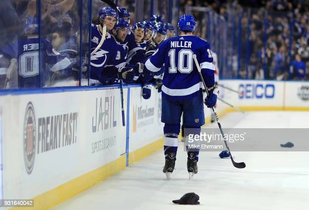 T Miller of the Tampa Bay Lightning reacts after scoring his third goal of the game during a game against the Ottawa Senators at Amalie Arena on...