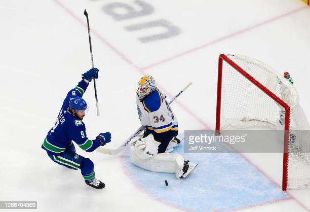 Miller of the Vancouver Canucks celebrates his goal at 1:19 of the first period against Jake Allen of the St. Louis Blues in Game Four of the Western...