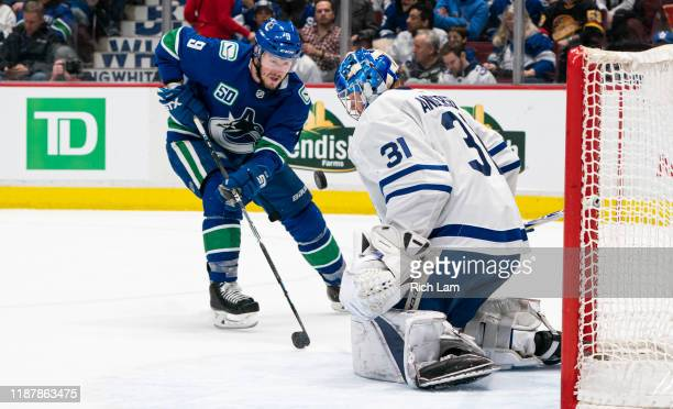 T Miller of the Vancouver Canucks is stopped by goalie Frederik Andersen of the Toronto Maple Leafs during NHL action at Rogers Arena on December 10...