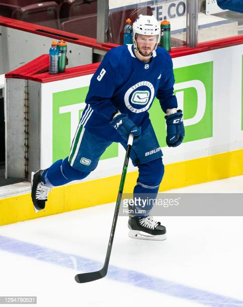 Miller of the Vancouver Canucks takes to the ice on the first day of the Vancouver Canucks NHL Training Camp on January 2021 at Rogers Arena in...