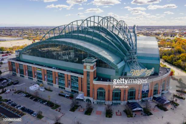 miller park milwaukee - aerial view - milwaukee stock pictures, royalty-free photos & images