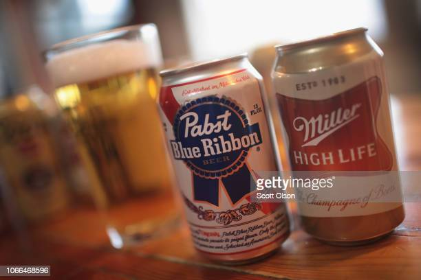MillerCoors and Pabst products are shown on November 29 2018 in Chicago Illinois Today the two brewers reached an agreement as the jury was...