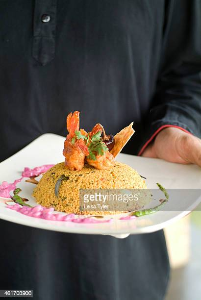 Millet and prawn biriyani with beetroot raita served at the Dune a 50 roomed ecoresort on the Coramandel Coast in Tamil Nadu Established by French...