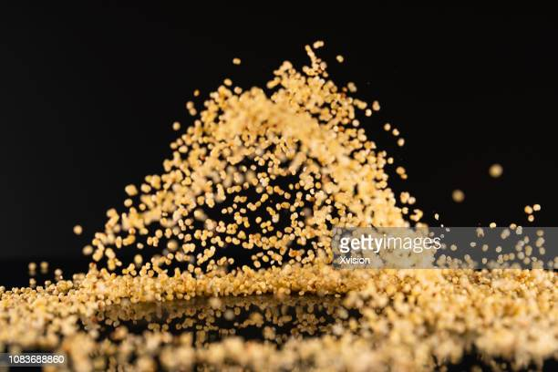 millet dancing with black background high speed photography - millet stock pictures, royalty-free photos & images