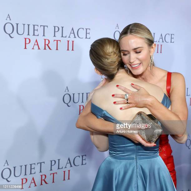Millicent Simmonds and Emily Blunt attend the A Quiet Place Part II World Premiere at Rose Theater Jazz at Lincoln Center on March 08 2020 in New...