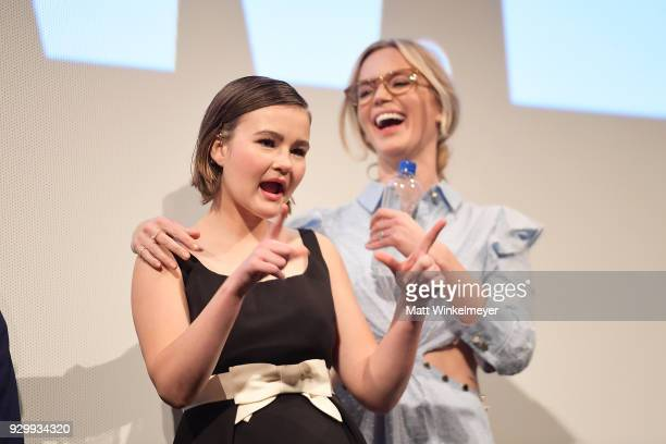 Millicent Simmonds and Emily Blunt attend the A Quiet Place Premiere 2018 SXSW Conference and Festivals at Paramount Theatre on March 9 2018 in...
