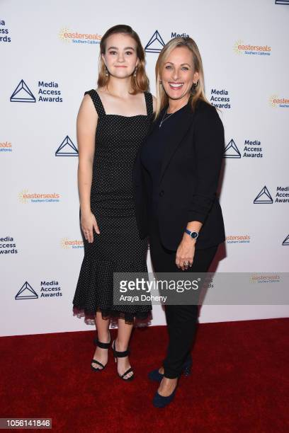 Millicent Simmonds and Marlee Matlin attend the Media Access Awards 2018 on November 1 2018 in Los Angeles California