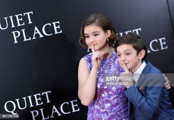Millicent Simmonds and Noah Jupe attend the Paramount Pictures premiere for 'A Quiet Place' at AMC Lincoln Square Theater on April 2 2018 in New York...