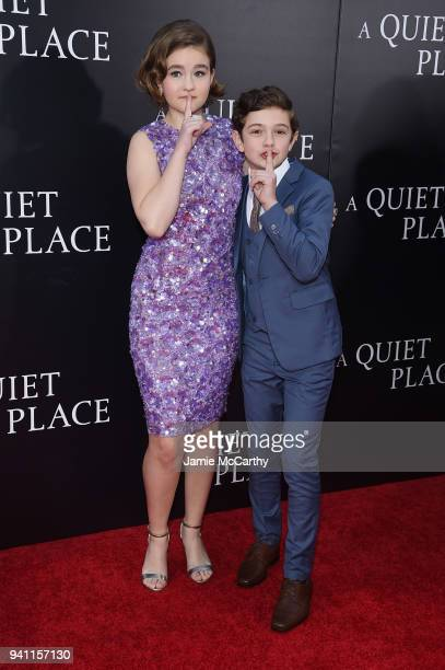 Millicent Simmonds and Noah Jupe attend the premiere for 'A Quiet Place' at AMC Lincoln Square Theater on April 2 2018 in New York City