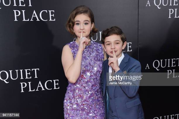 """Millicent Simmonds and Noah Jupe attend the premiere for """"A Quiet Place"""" at AMC Lincoln Square Theater on April 2, 2018 in New York City."""