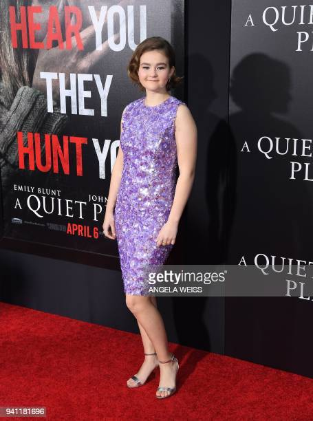 Millicent Simmonds attends the Paramount Pictures premiere for 'A Quiet Place' at AMC Lincoln Square Theater on April 2 2018 in New York City / AFP...