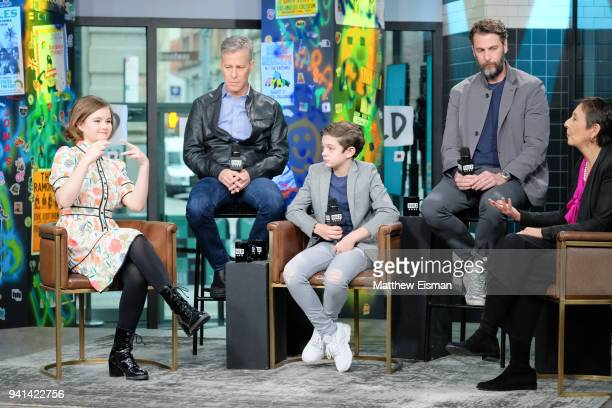 Millicent Simmonds Brad Fuller Noah Jupe and Andrew Form visit Build Studio to discuss the film 'A Quiet Place' on April 3 2018 in New York City