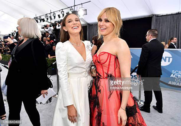 Millie Bobby Brown and Cara Buono attend the 26th Annual Screen ActorsGuild Awards at The Shrine Auditorium on January 19, 2020 in Los Angeles,...