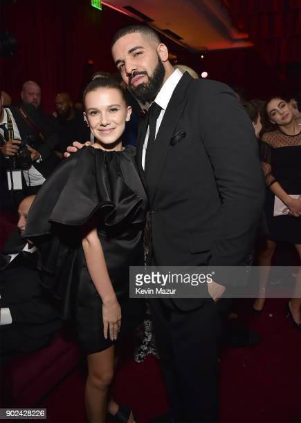 Millie Bobby Brown and Drake attend the Netflix Golden Globes after party at Waldorf Astoria Beverly Hills on January 7 2018 in Beverly Hills...