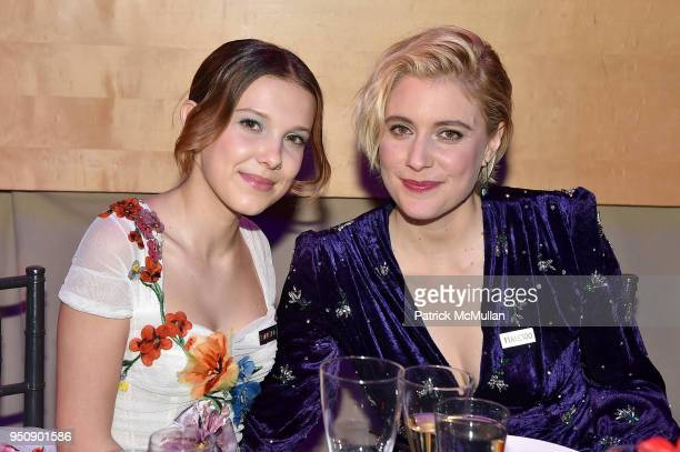Millie Bobby Brown and Greta Gerwig attend the 2018 TIME 100 Gala at Jazz at Lincoln Center on April 24 2018 in New York City