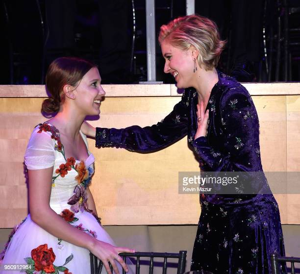 Millie Bobby Brown and Greta Gerwig attend the 2018 Time 100 Gala at Jazz at Lincoln Center on April 24 2018 in New York CityÊ