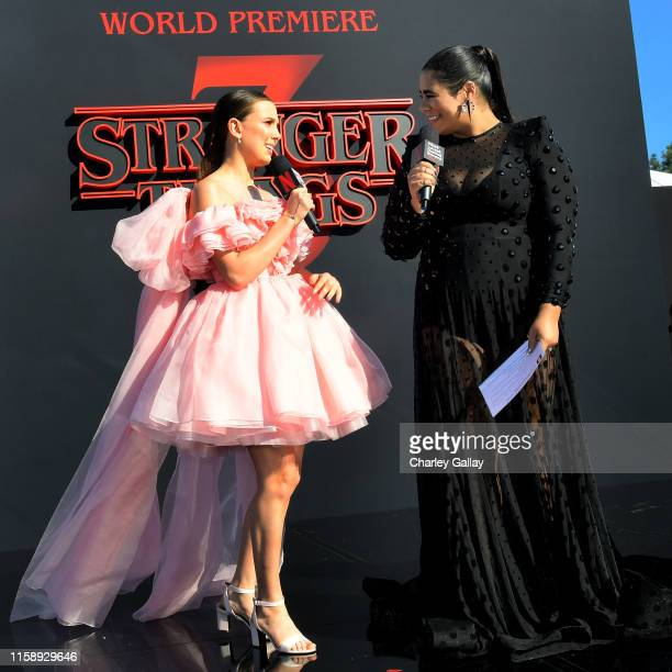 Millie Bobby Brown and Jessica Marie Garcia speak onstage during the Stranger Things Season 3 World Premiere on June 28 2019 in Santa Monica...
