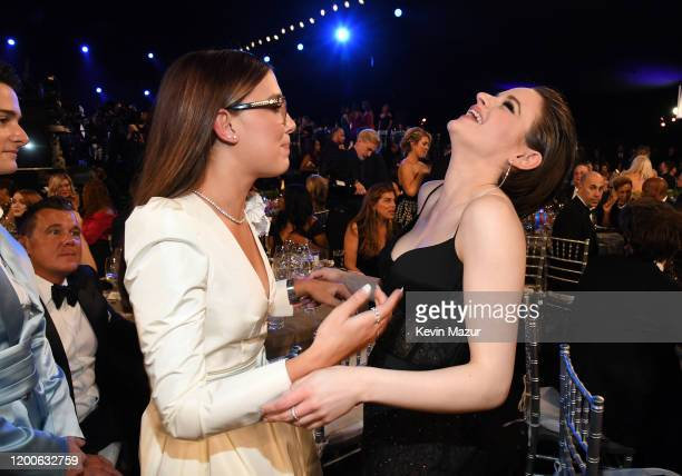 Millie Bobby Brown and Joey King attend the 26th Annual Screen ActorsGuild Awards at The Shrine Auditorium on January 19, 2020 in Los Angeles,...