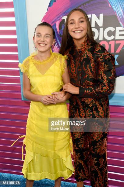 Millie Bobby Brown and Maddie Ziegler attend the Teen Choice Awards 2017 at Galen Center on August 13, 2017 in Los Angeles, California.