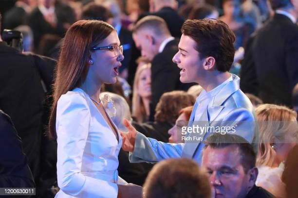 Millie Bobby Brown and Noah Schnapp attend the 26th Annual Screen ActorsGuild Awards at The Shrine Auditorium on January 19, 2020 in Los Angeles,...