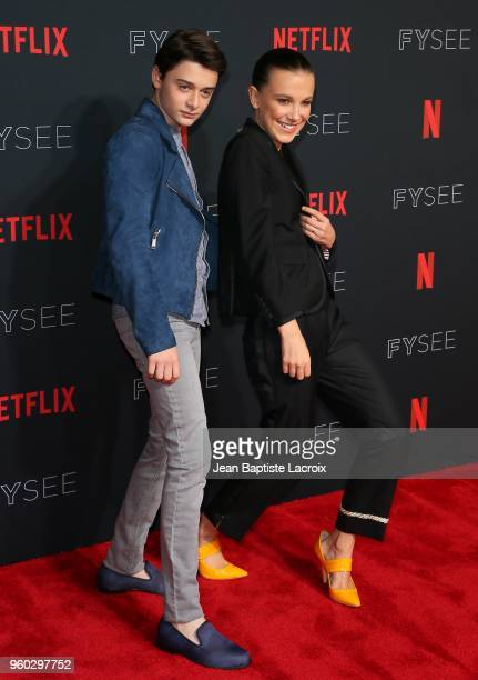 Millie Bobby Brown and Noah Schnapp attend the #NETFLIXFYSEE For Your Consideration 'Stranger Things' Event on May 19 2018 in Hollywood California