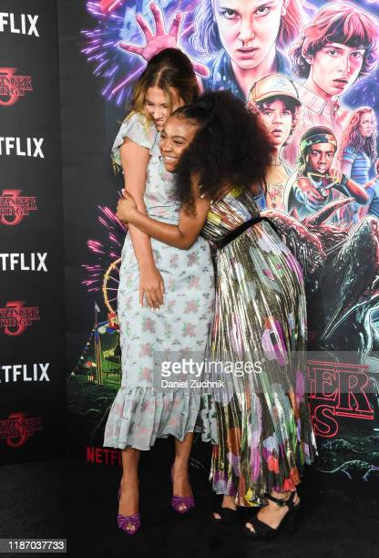 Millie Bobby Brown and Priah Ferguson attend the New York Screening of Stranger Things Season 3 at DGA Theater on November 11 2019 in New York City