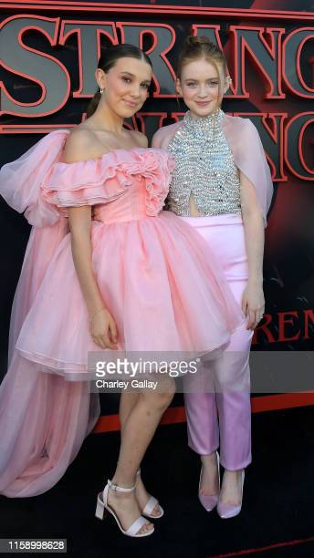 Millie Bobby Brown and Sadie Sink attend the Stranger Things Season 3 World Premiere on June 28 2019 in Santa Monica California