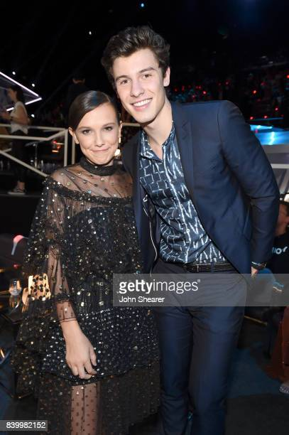 Millie Bobby Brown and Shawn Mendes attend the 2017 MTV Video Music Awards at The Forum on August 27 2017 in Inglewood California